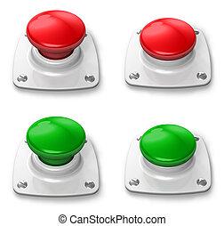 conjunto, de, apretado, y, deprimido, botón
