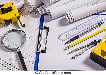 conjunto, de, arquitecto, herramientas, en, planos