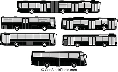 conjunto, de, autobús, siluetas