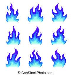 conjunto, de, azul, fuego, iconos, plano, fuego, llama, vector, illustration., colección, de, azul, llamas, o, campfires, aislado, blanco