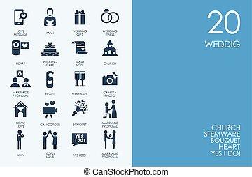 conjunto, de, azul, hámster, biblioteca, boda, iconos