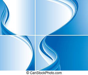 conjunto, de, azul, resumen, onda, fondos