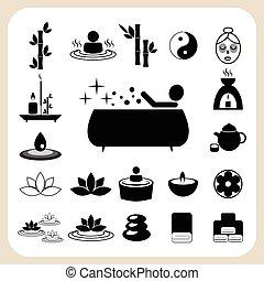 conjunto, de, balneario, y, masaje, iconos