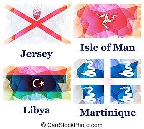 conjunto, de, banderas