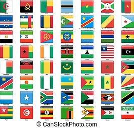 conjunto, de, banderas, de, todos, africano, countries., brillante, cuadrado, estilo