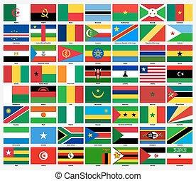 conjunto, de, banderas, de, todos, africano, countries.