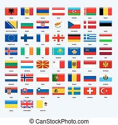 conjunto, de, banderas, de, todos, países, de, europe., rectángulo, brillante, style.