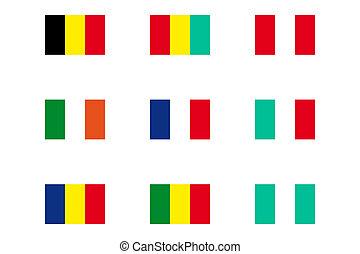 conjunto, de, banderas del mundo