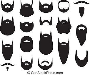 conjunto, de, barba, siluetas