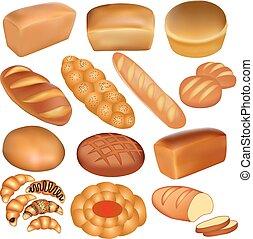 conjunto, de, barrasde pan, y, un, blanco