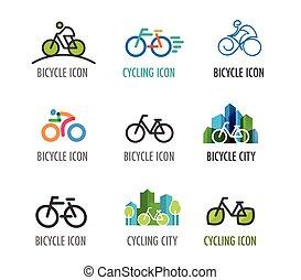 conjunto, de, bicicleta, iconos, y, símbolos