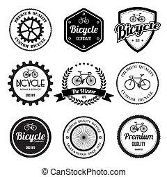 conjunto, de, bicicleta, retro, vendimia, insignias, y,...