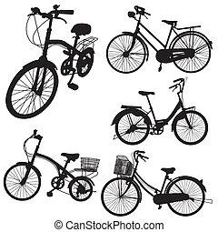 conjunto, de, bicicleta, vector