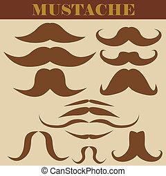 conjunto, de, bigotes