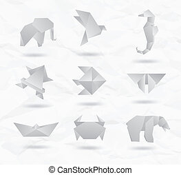 conjunto, de, blanco, origami, animals.
