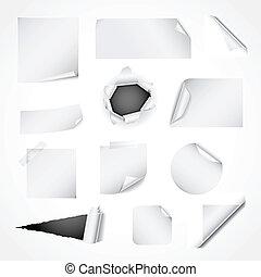 conjunto, de, blanco, papel, diseñe elementos