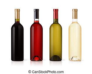 conjunto, de, blanco, rosa, y, vino rojo, bottles., aislado,...