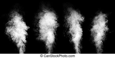 conjunto, de, blanco, vapor, en, negro, fondo.