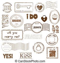 conjunto, de, boda, sellos
