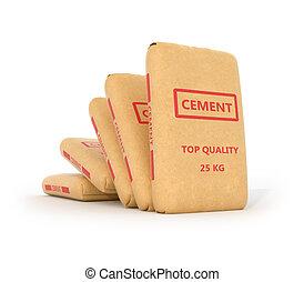 conjunto, de, bolsas de papel, de, cemento, en, un, blanco,...