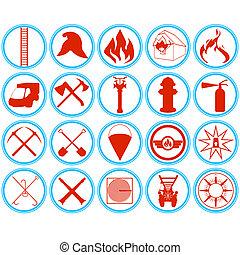conjunto, de, bomberos, iconos