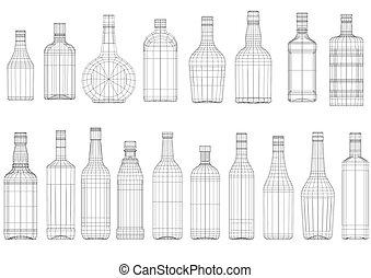 conjunto, de, botella