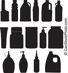 conjunto, de, botella, vector