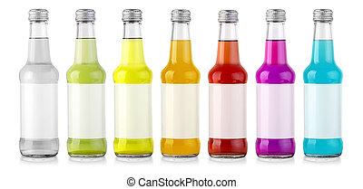 conjunto, de, botellas, con, sabroso, drink\