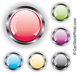 conjunto, de, brillante, botones