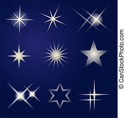 conjunto, de, brillante, estrellas