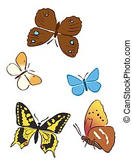 conjunto, de, brillante, mariposas, -, vector