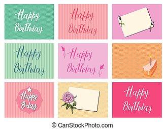 conjunto, de, brillante, postcards., feliz cumpleaños, caligrafía, cartas, en, diferente, backgrounds., festivo, tipografía, vector, diseños, para, saludo, tarjetas., listo, plantillas