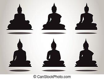 conjunto, de, buddha, siluetas, en, el, fondo blanco