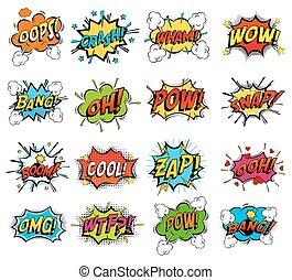 conjunto, de, cómico, burbuja, discurso, nubes, onomatopoeia