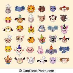 conjunto, de, cabeza animal, iconos