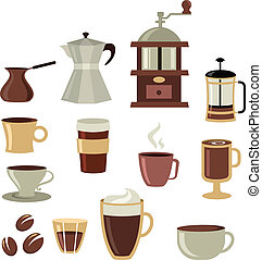 conjunto de café, -, 3, iconos