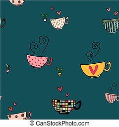 conjunto de café, garabato, diseños, seamless, mano, fondo verde, patrón, tazas, dibujo, diferente