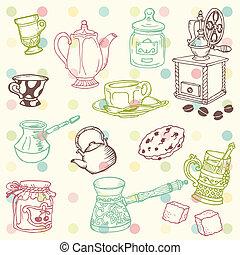 conjunto de café, garabato, -, mano, vector, tiempo, té, dibujado