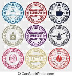 conjunto de café, sellos