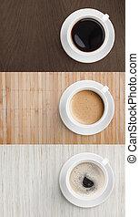 conjunto de café, tapa de madera, tabla, vista