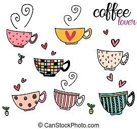 conjunto de café, tazas, garabato, diseños, diferente, patrón, mano, dibujo