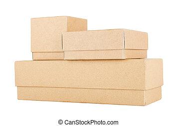 conjunto, de, caja de papel
