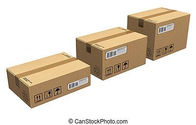 conjunto, de, cajas de cartón