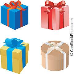 conjunto, de, cajas del regalo