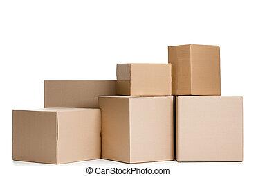 conjunto, de, cajas
