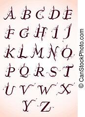 conjunto, de, caligrafía, alfabeto