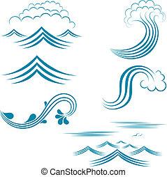 conjunto, de, caracteres, agua
