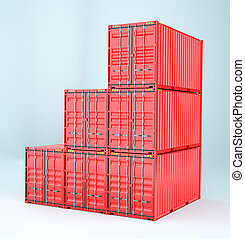 conjunto, de, carga, 3d, contenedor, entrega