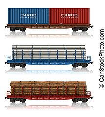 conjunto, de, carga, automóviles del ferrocarril