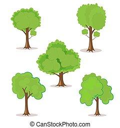 conjunto, de, caricatura, árboles, hand-drawn, para, su, diseño, o, project., aislado, blanco, fondo., vector, ilustración, eps10.